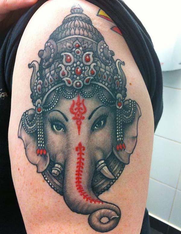 Shoulder Lord Ganesha Tattoo Ink ide for gutter