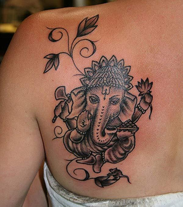 Simple and Sober Ganesha Tattoo ink idea for girls