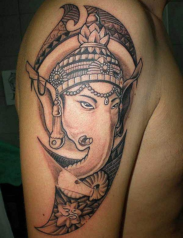 Cool Ganpati Bappa tattoo idea for boys