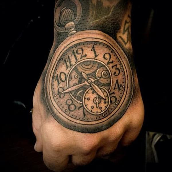Old clock tattoo design idea on back of hand