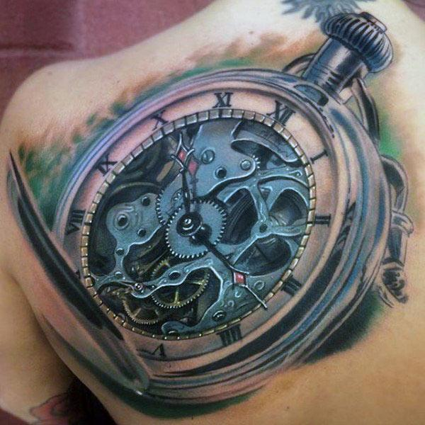 Mechanical clock tattoo ink idea for back
