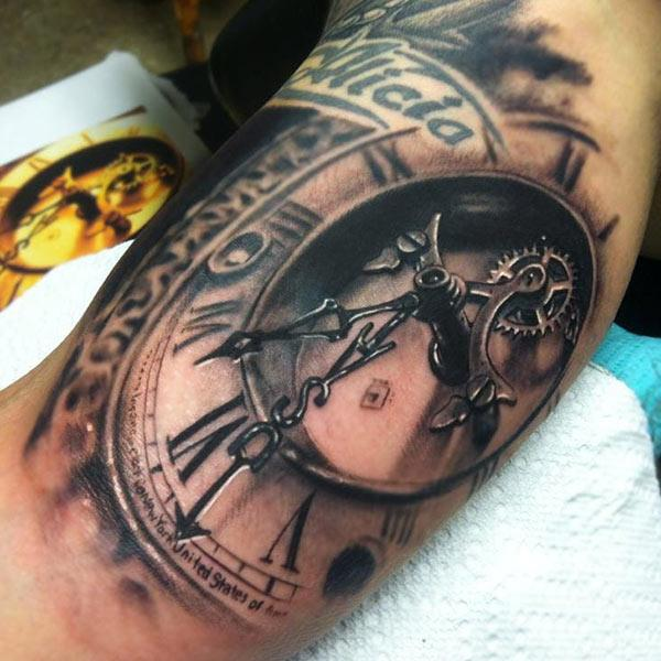 Cool time clock tattoo design idea for guys