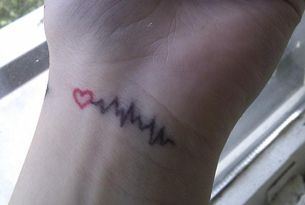 Heartbeat Tattoo on the wrist makes a girl look enthralling