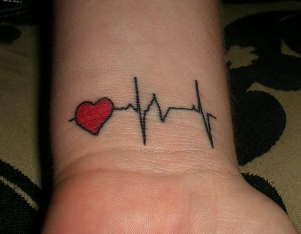 Heartbeat Tattoo on the wrist with a red ink makes a girl look astonishing