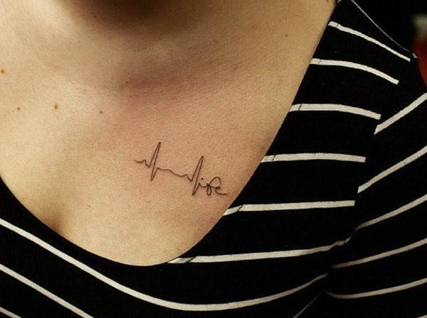 Heartbeat Tattoo on the upper chest brings a feminist look