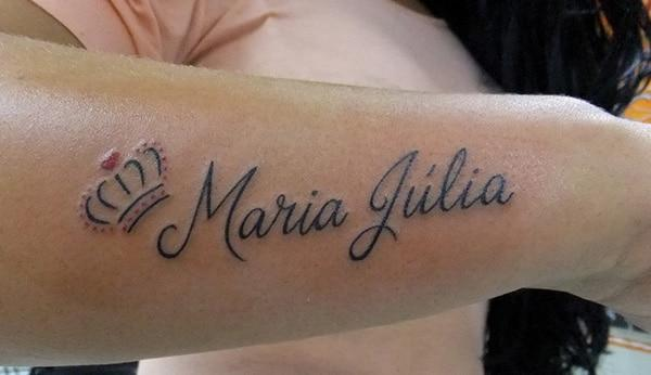 Name Tattoo on the lower arm brings the mesmeric look