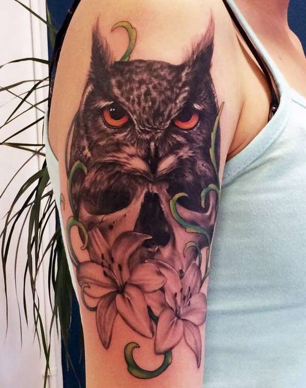 Owl Tattoo on the shoulder brings the astonishing look