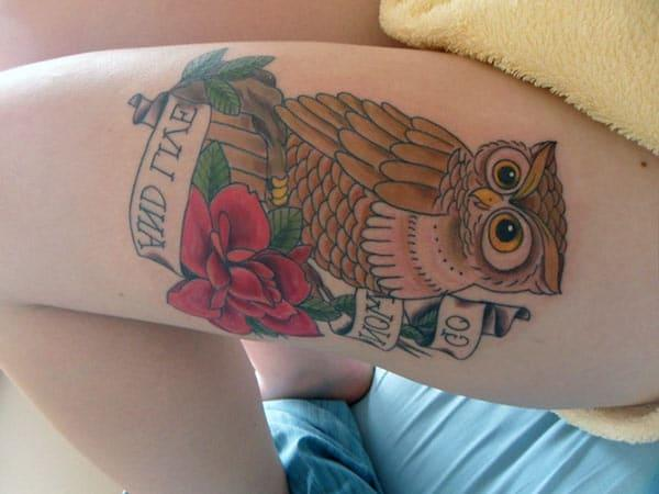 Owl Tattoo on the side thigh gives the girls an attractive look