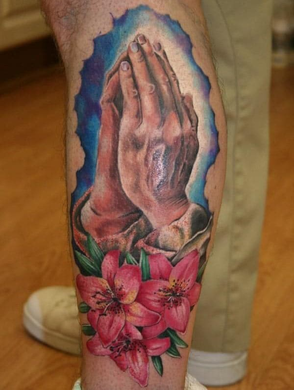 Praying Hand Tattoo on the foot brings the glorious look
