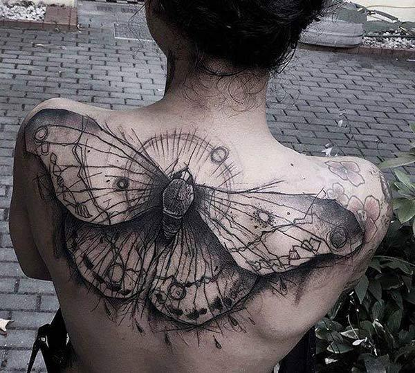 Amazing Tattoo koos must fly tindi disain toob gorgeous välimus