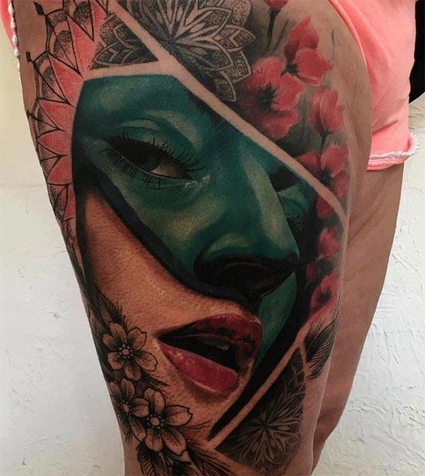 Amazing Tattoo on the side thigh gives the girls an attractive look