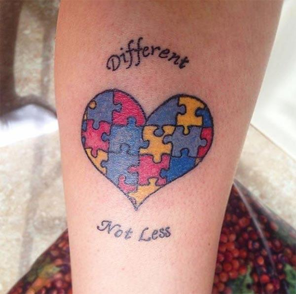 Autism Tattoo on the foot brings the loyalty look