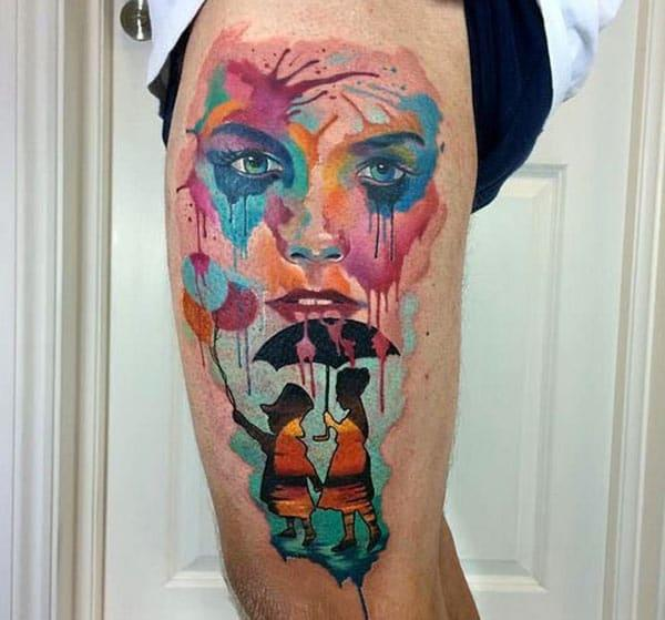 The Awesome Tattoo on the side thigh of a man make it look attractive