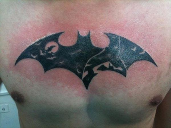 Bat tattoo on the upper chest makes a man look majestic