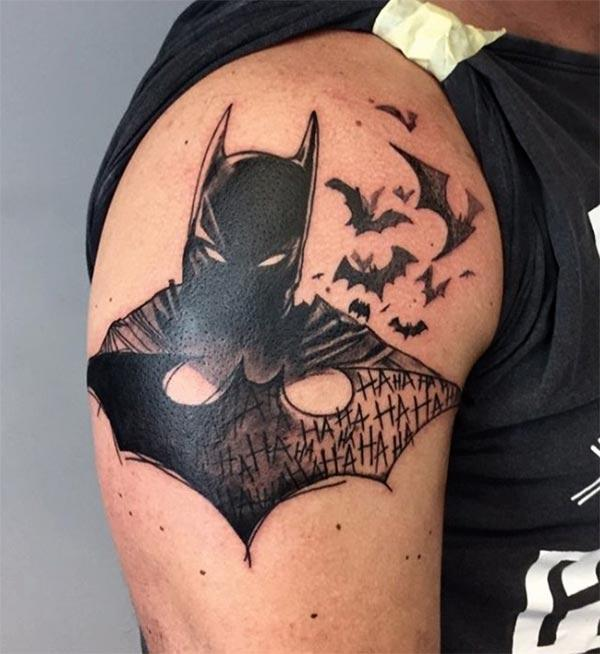 Bat tattoo on the right arm, make men look more attractive
