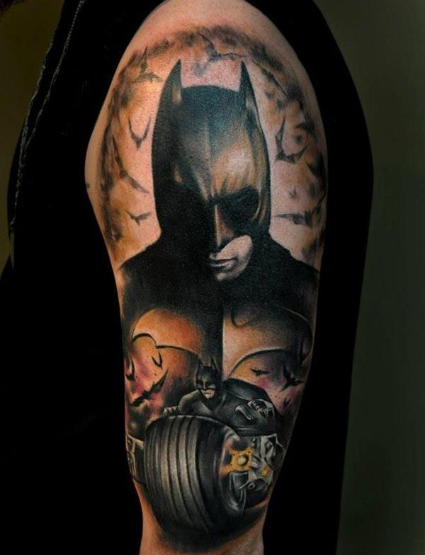 Batman tattoo on the left should make a man look marvelous
