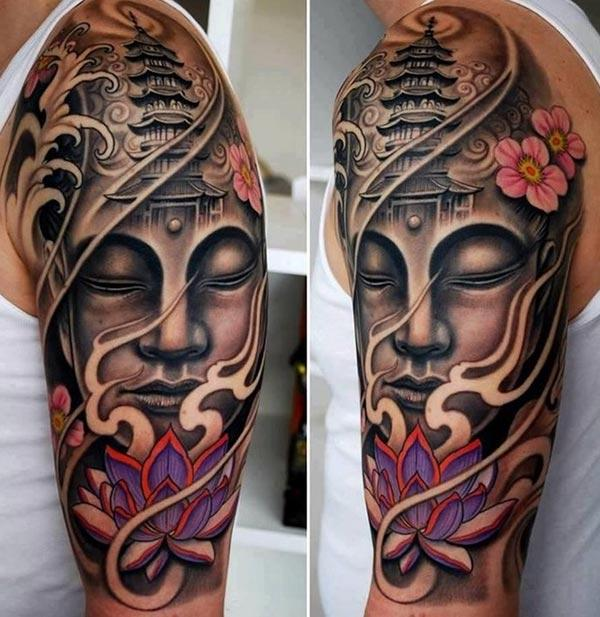 Buddha Tattoo for men with a pink flower ink design make them look cool