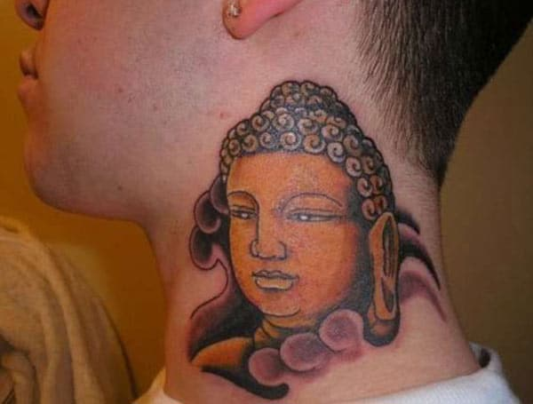Buddha Tattoo on the side neck brings the captivating and cute gaze