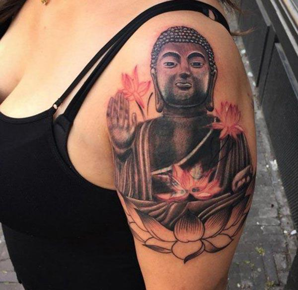 Buddha Tattoo for Women with a black ink design cat make them look radiant