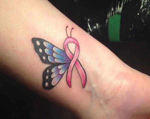 Cancer Ribbon tattoo on the wrist makes a women look lamentable