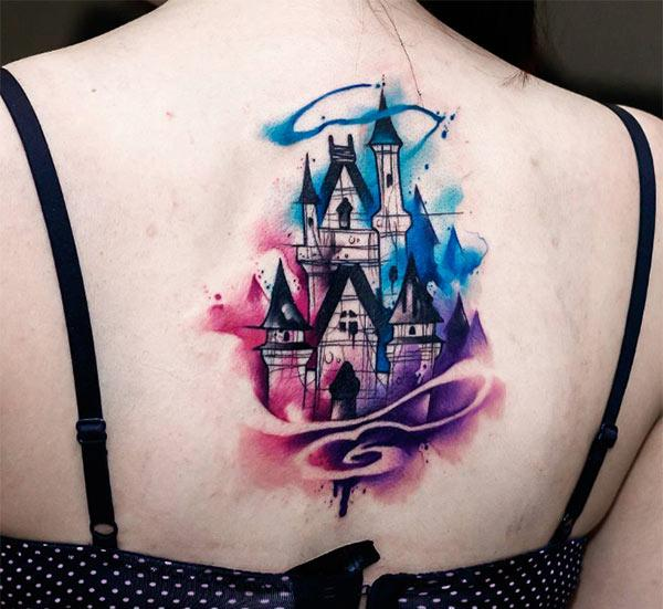 Disney Tattoo on the back of ladies make them look attractive