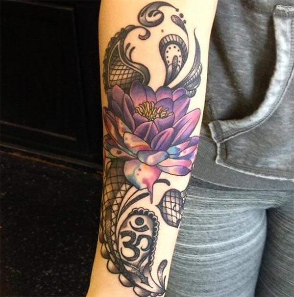 Forearm Tattoo with a purple flower ink design make them have captivating appearance