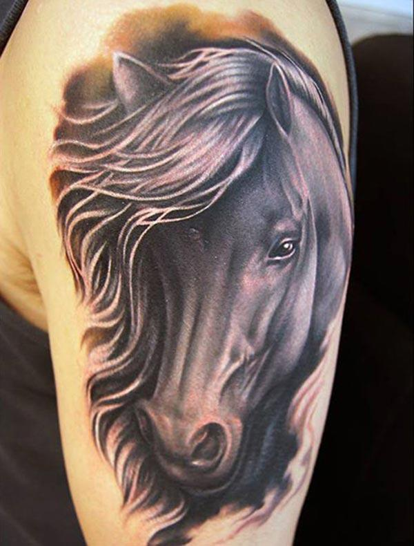 Horse tattoo a purple ink design, on the left upper arm brings the spruce appearance in men