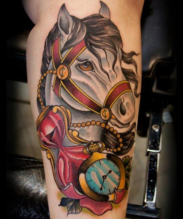 Horse tattoo on the foot brings a feminist look