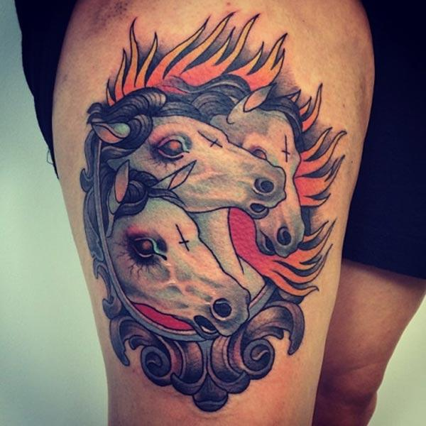 Horse tattoo on the side thigh makes a woman look attractive