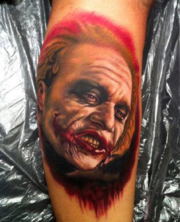 Joker Tattoo for men with brown ink design makes a man look cute