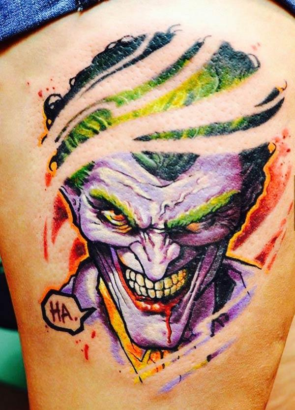Joker Tattoo on the side thigh gives the girls an attractive look