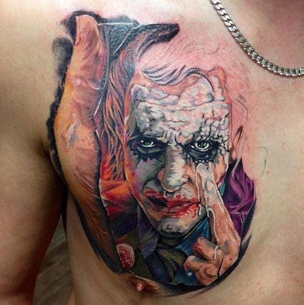 Joker Tattoo on the upper chest makes a man look august