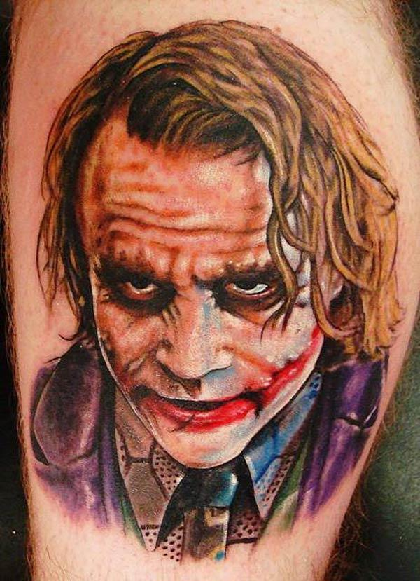 Joker Tattoo for men with a brown ink design make them look stunning