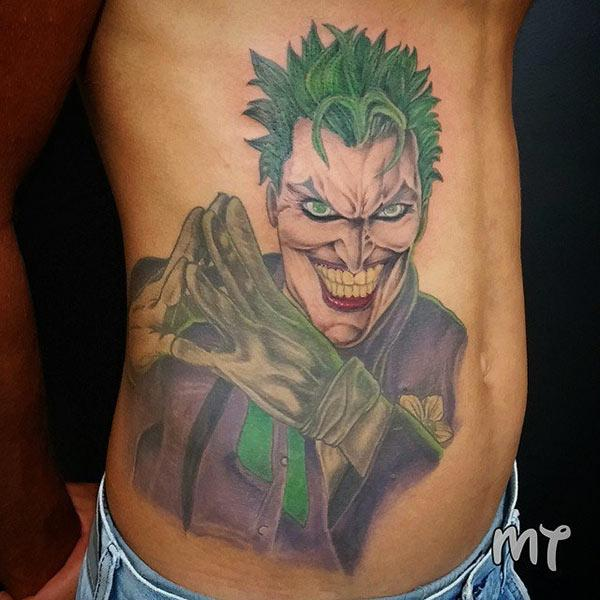 Joker Tattoo on the side belly makes a man look gallant