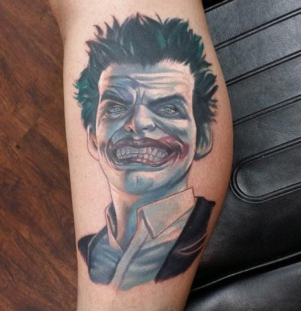 Joker Tattoo for men with black ink design brings their elegant