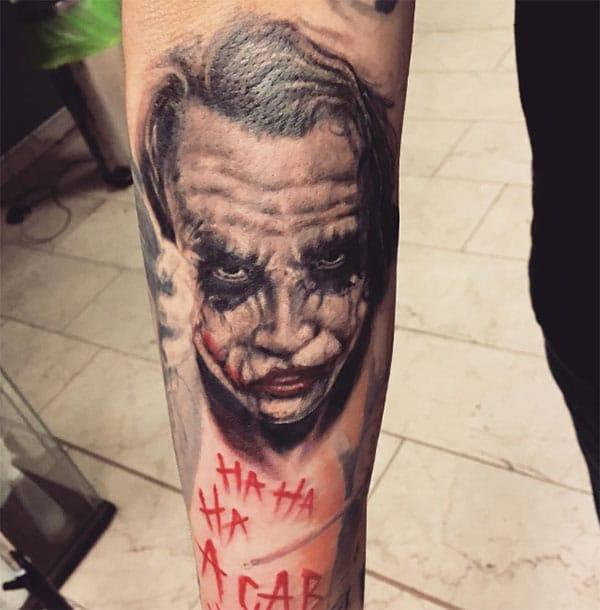 Joker Tattoo on the lower arm makes a man look cool