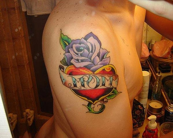 Mom Tattoo for men with a flower design on the shoulder make them look foxy