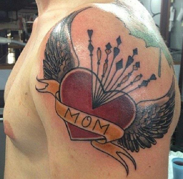 Mom Tattoo for men with a pink love ink design brings their elegant