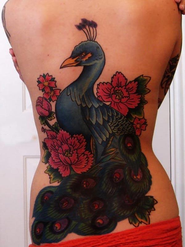 Peacock Tattoo ერთად ლურჯი და ვარდისფერი ყვავილი მელნის დიზაინი მოაქვს gorgeous სახეს