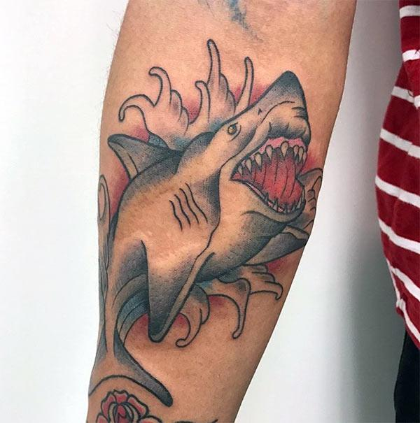 Shark Tattoo on the lower arm makes a man look gallant