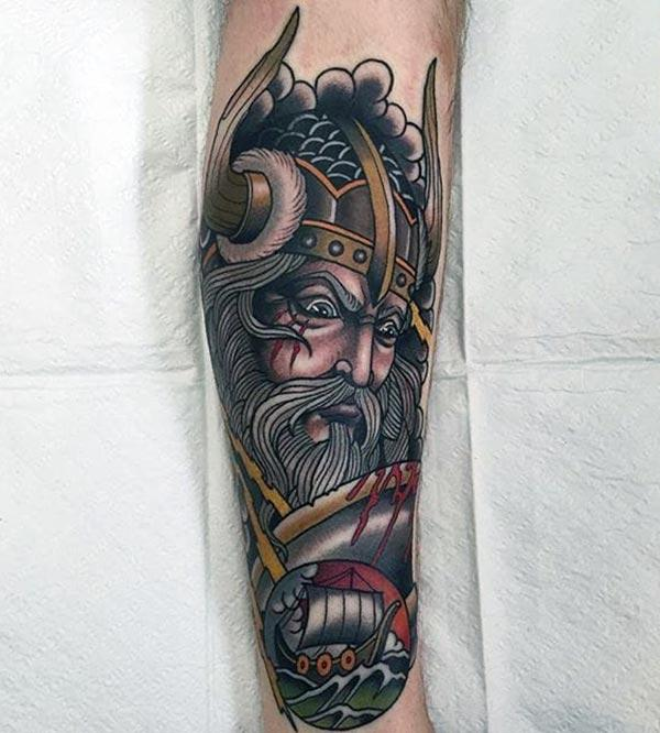 Viking tattoo on the lower front arm make beings the foxy look