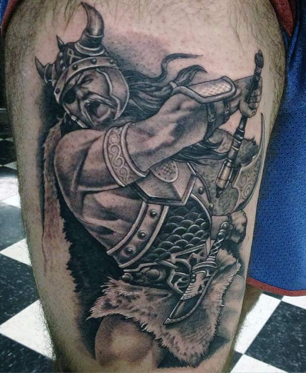 The Viking tattoo on the side thigh of a man make it look attractive