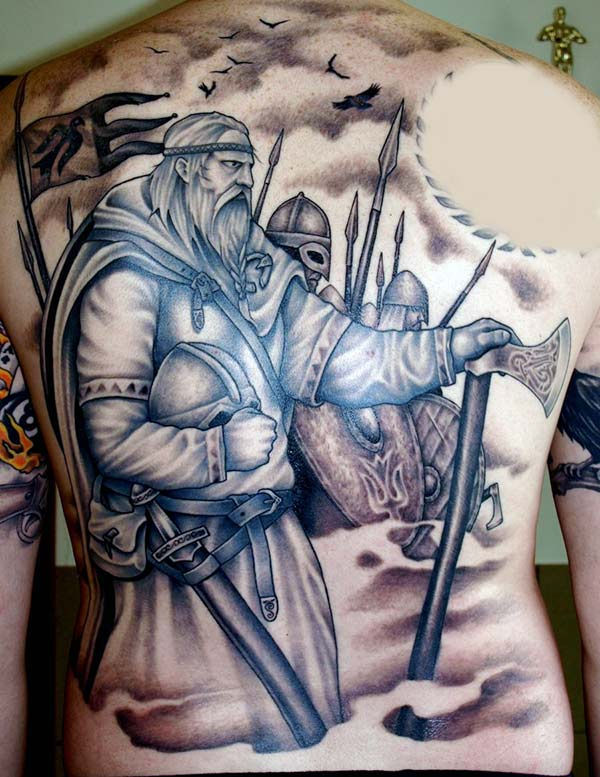 Viking tattoo on the back brings the moralistic look in men