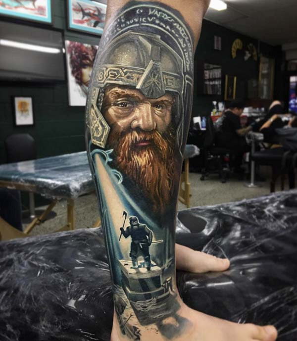 Viking tattoo on the foot brings the imposing look