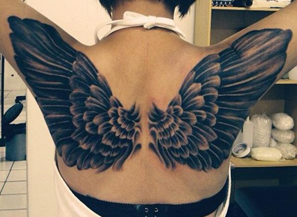 Wing Tattoo on the back brings the astonishing