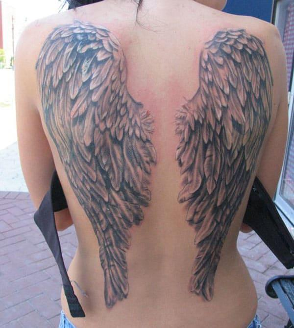 Wing tattoo at the back brings the captivating look