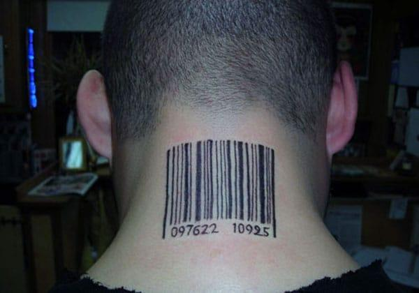 Barcode tattoo on the back neck make a man look cute