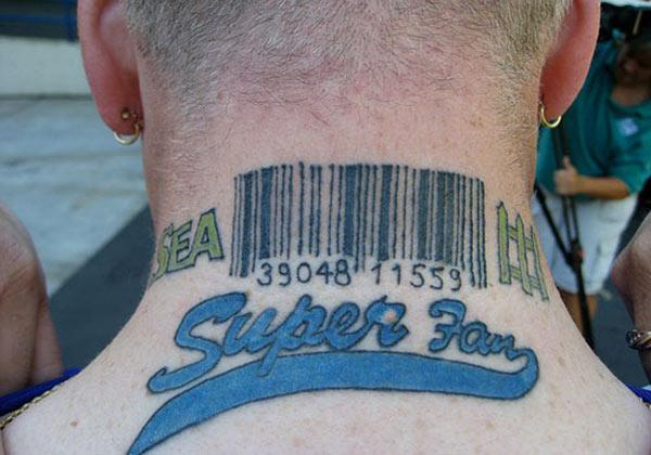 Men make a divine Barcode tattoo on their back neck to make them attractive