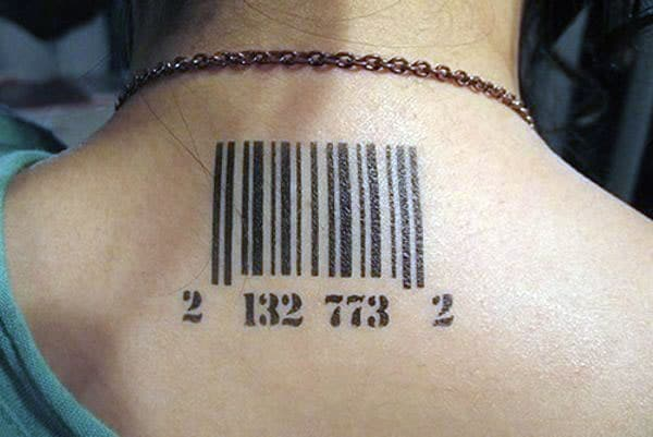 This bright Barcode tattoo design ink to make girls look more charismatic