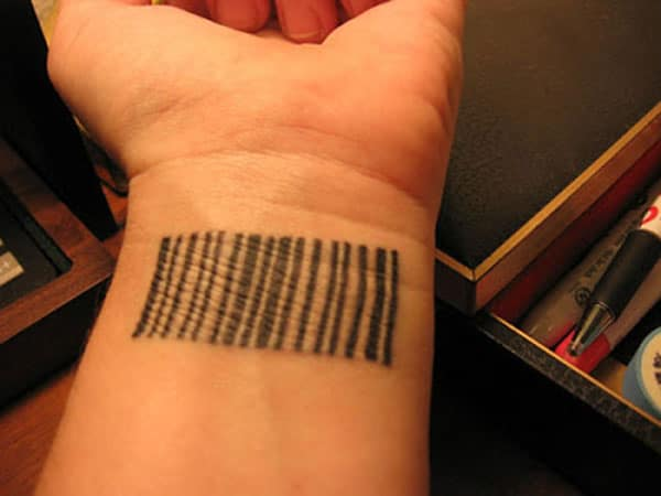 Barcode tattoo on the wrist makes a girl appear charming